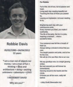 Bookmark given out at Robbie's funeral with Libby's poem