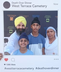 Giani Kuldeep, one of our panelists, with his family at the Death Over Dinner event