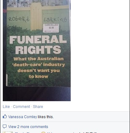 Funeral Rights book - Facebook message